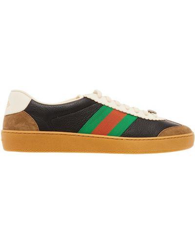 Комбинированные кожаные кроссовки на шнуровке Gucci