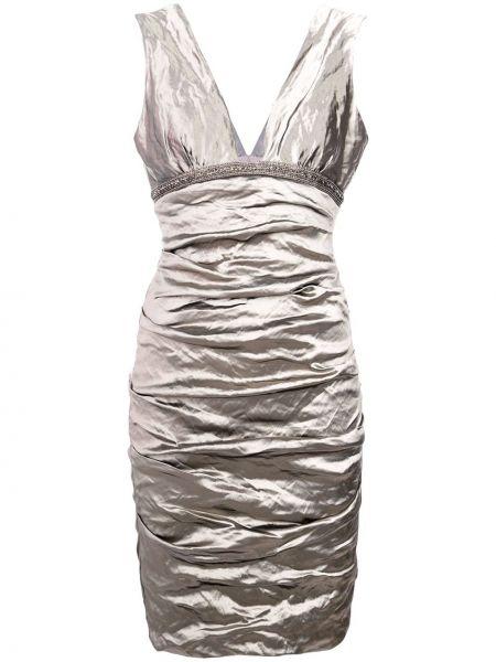 Платье с V-образным вырезом - серое Nicole Miller