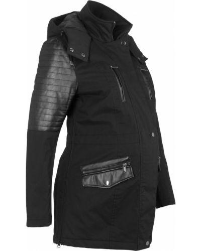 Утепленная куртка черная на пуговицах Bonprix