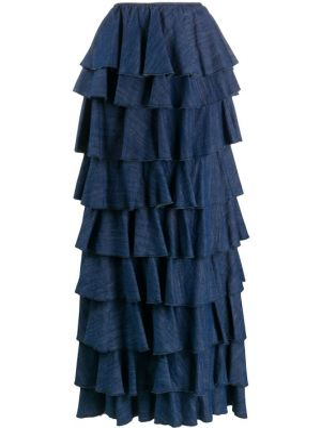 Niebieska spódnica maxi z wysokim stanem bawełniana So Allure