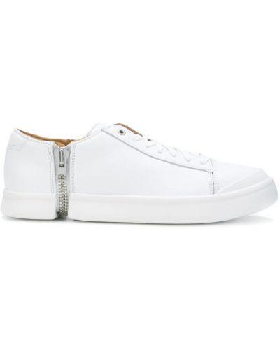 Белые кожаные кроссовки на молнии Diesel