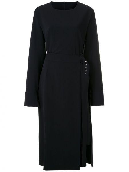Черное прямое платье миди с длинными рукавами с вырезом Gloria Coelho