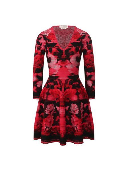 Платье розовое с V-образным вырезом Alexander Mcqueen
