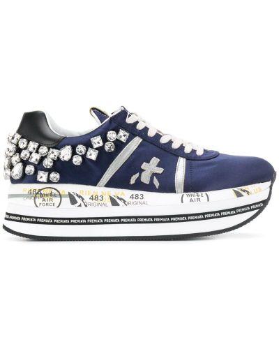 Кроссовки на платформе с логотипом на шнуровке Premiata