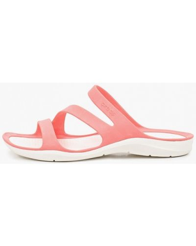 Розовые пляжные шлепанцы Crocs