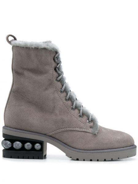 Ażurowy skórzany buty na pięcie zasznurować na pięcie Nicholas Kirkwood