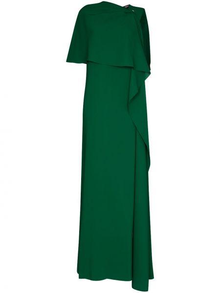 Шелковое вечернее платье с драпировкой с вырезом с короткими рукавами Oscar De La Renta