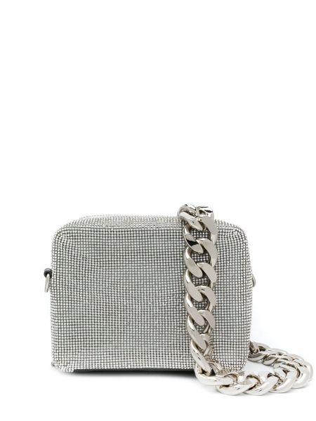 С ремешком серебряная сумка на цепочке на молнии Kara