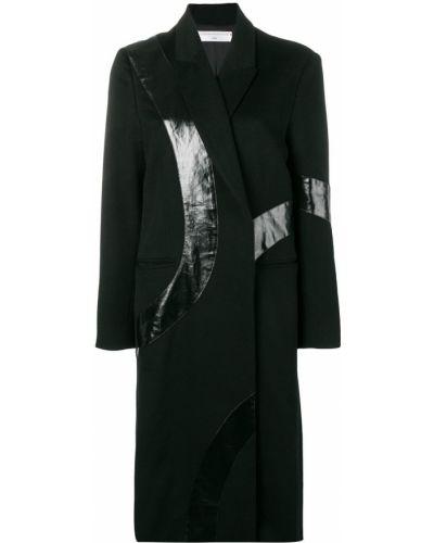 Черное длинное пальто с капюшоном Victoria Beckham