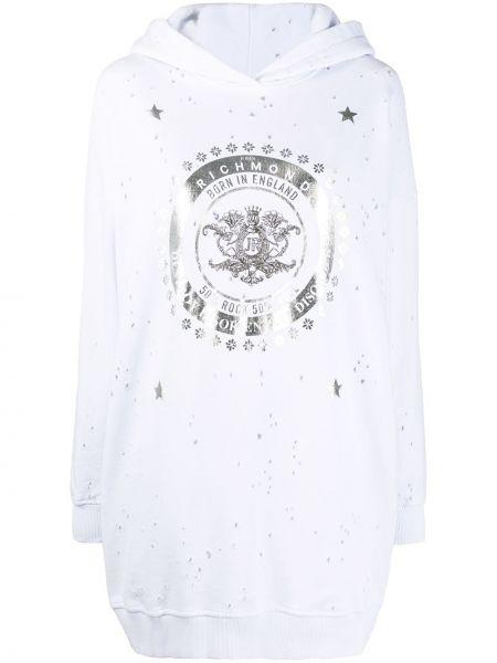 Bluza z kapturem z kapturem srebro John Richmond