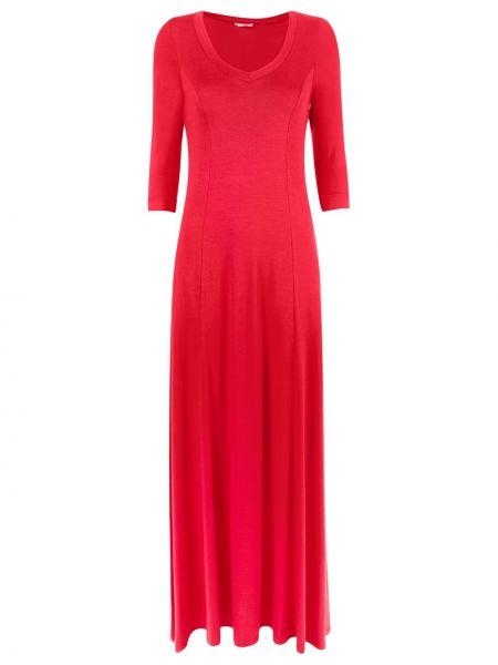 Вечернее хлопковое красное вечернее платье с V-образным вырезом Lygia & Nanny