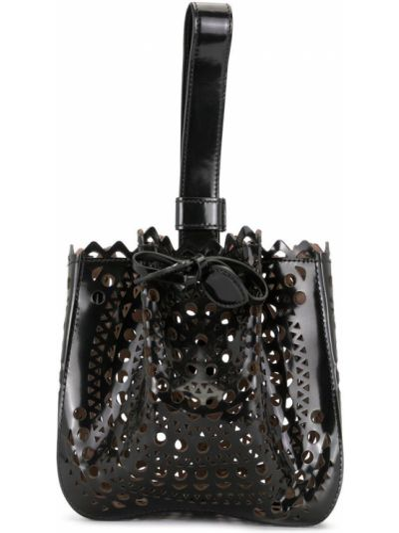 Кожаная черная сумка-тоут с перфорацией на шнурках Alaïa Pre-owned