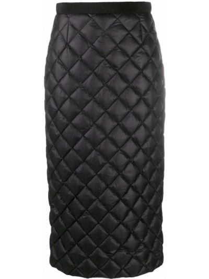 Пуховая стеганая черная юбка карандаш с перьями Moncler