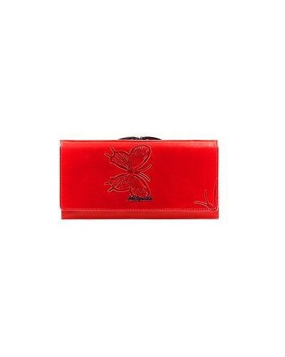 Красный кожаный кошелек с бабочками Malgrado