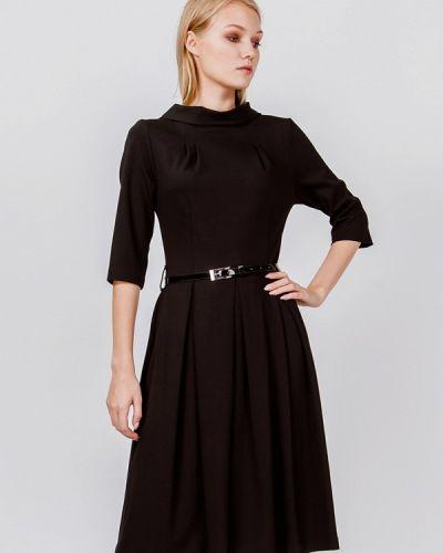 Платье миди осеннее черное мадам т