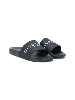Открытые черные шлепанцы с открытым носком на плоской подошве Givenchy Kids