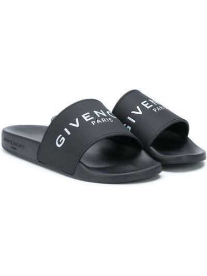 Открытые черные шлепанцы на плоской подошве Givenchy Kids