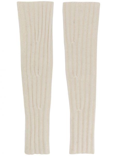Prążkowane beżowe rękawiczki bez palców wełniane Cashmere In Love