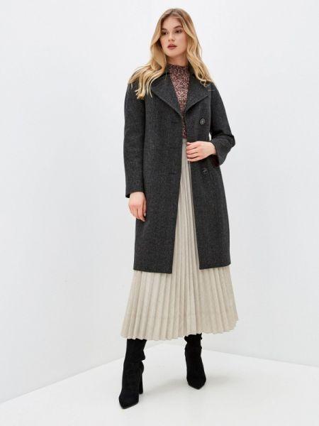 Черное пальто с капюшоном Samos Fashion Group