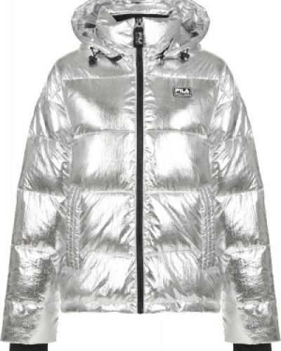 Свободная серебряная нейлоновая куртка с капюшоном на молнии Fila