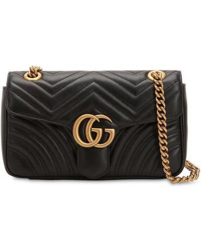 Кожаная сумка с карманами на молнии Gucci