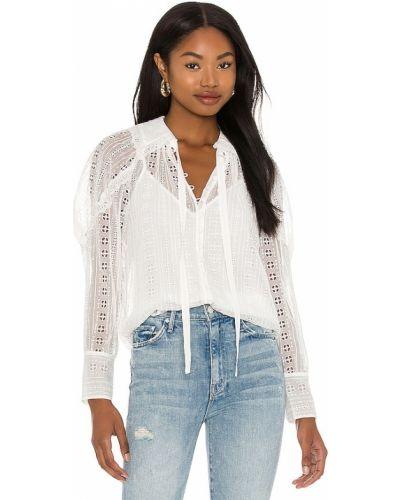 Biała bluzka z długimi rękawami z haftem Rebecca Taylor