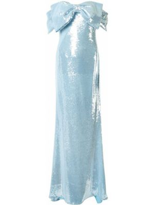 Синее платье макси с открытыми плечами на молнии Badgley Mischka