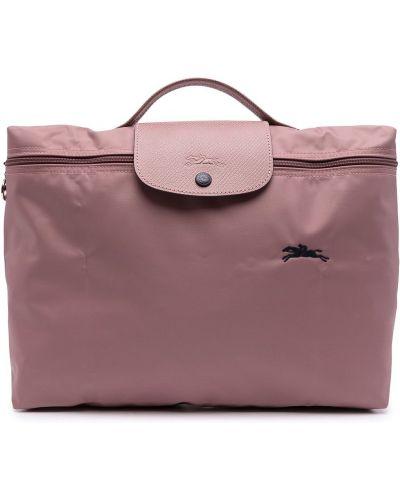 Różowa teczka z haftem z nylonu Longchamp