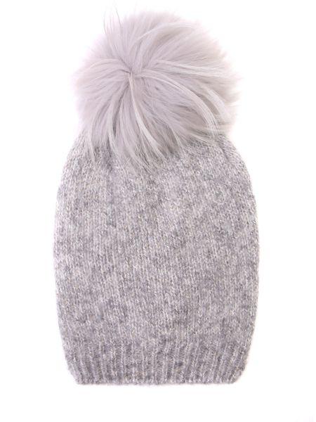 Хлопковая серая классическая шапка с помпоном Panicale