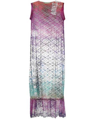 Ажурное фиолетовое платье миди без рукавов Aries