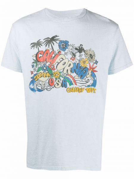Niebieski t-shirt bawełniany z printem Gallery Dept.