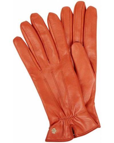 Pomarańczowe rękawiczki skorzane Roeckl