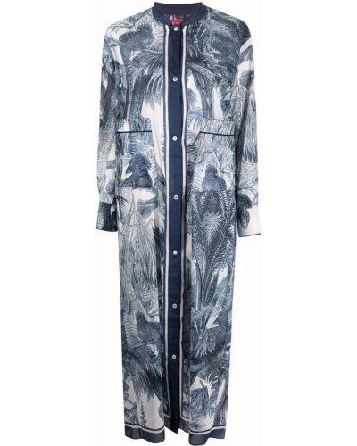 Прямое синее платье макси с длинными рукавами F.r.s. For Restless Sleepers