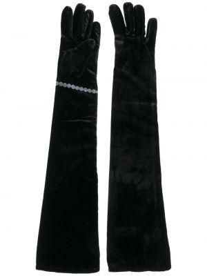 С рукавами черные шелковые перчатки длинные Mm6 Maison Margiela