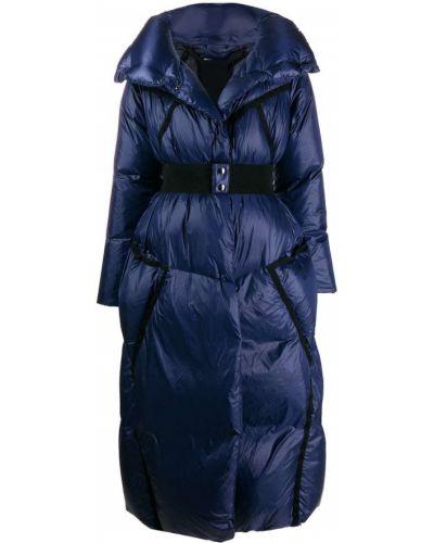 Синее длинное пальто с воротником с поясом Dorothee Schumacher