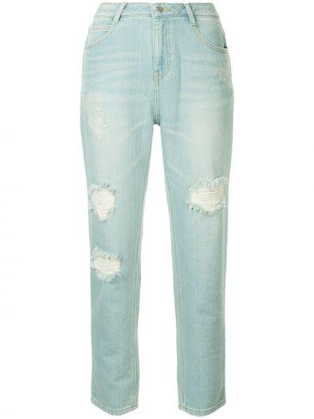 Синие нейлоновые джинсы бойфренды с поясом на молнии Sjyp