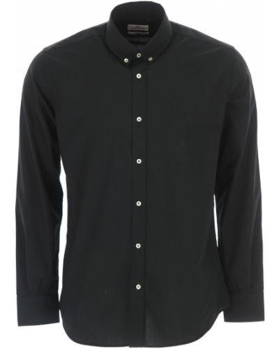 Czarna koszula slim bawełniana z długimi rękawami Brooksfield