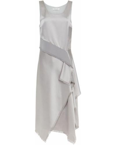 Ażurowa satynowa sukienka midi asymetryczna Cedric Charlier