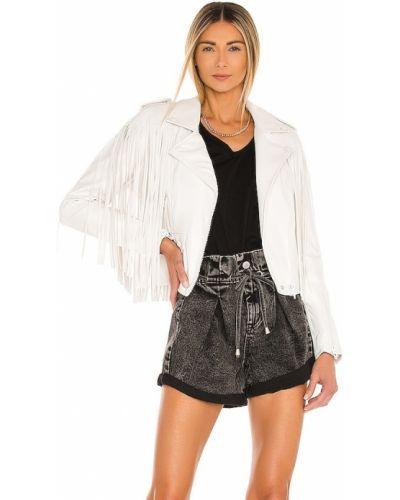 Кожаная куртка с бахромой - белая [blanknyc]