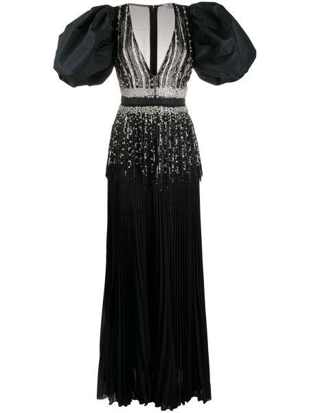 С рукавами черное платье макси с V-образным вырезом на молнии Elisabetta Franchi