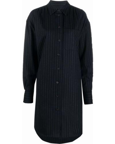 Шерстяное платье макси - синее Odeeh