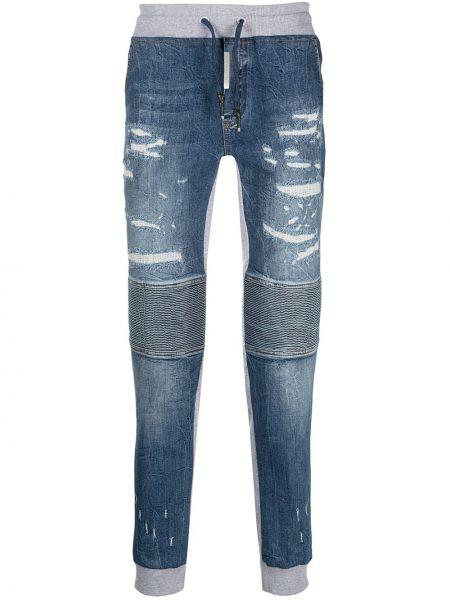 Bawełna niebieski bawełna klasyczny jeansy z paskiem Philipp Plein
