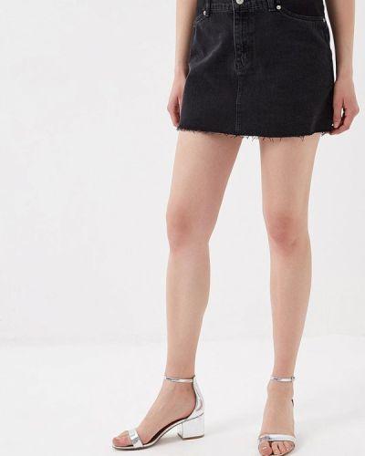Джинсовая юбка для беременных черная Topshop Maternity