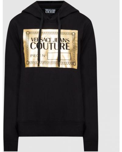 Худи с принтом - черное Versace Jeans Couture