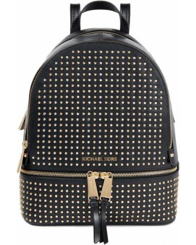 Черный кожаный рюкзак с карманами Michael Michael Kors