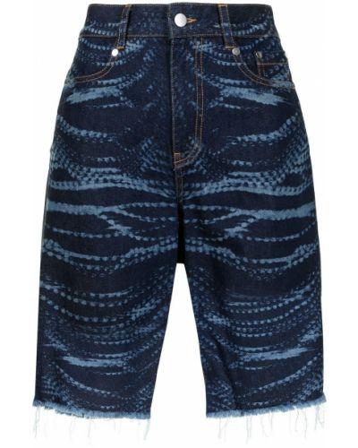 Синие хлопковые джинсовые шорты с карманами Area