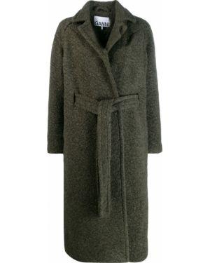 Шерстяное длинное пальто с капюшоном Ganni