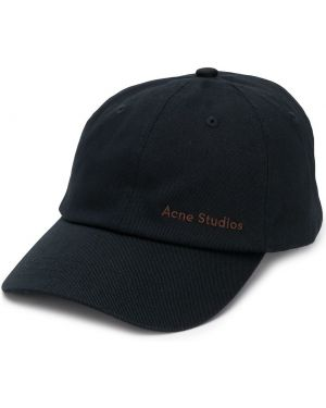 Czarna czapka z haftem bawełniana Acne Studios