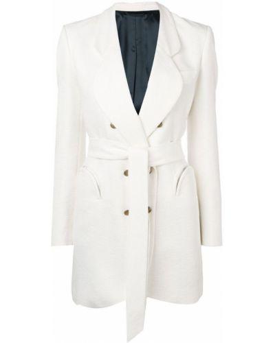 Белое длинное пальто с капюшоном на пуговицах Blazé Milano