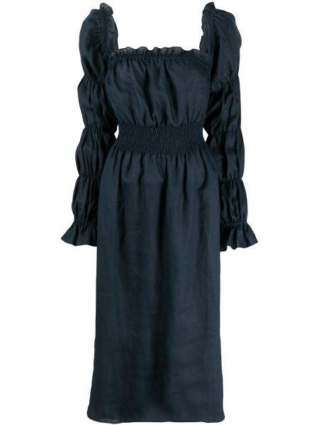 Niebieska sukienka midi z długimi rękawami Sleeper
